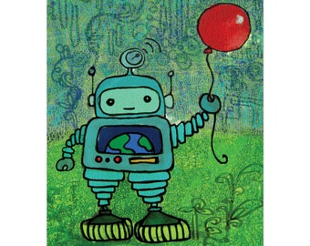 Robot with Red Balloon - 8x10 Art Print Wall Hanging