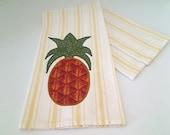 Pineapple Tea Towel -- Yellow / White -- Small Homespun Appliqued Cotton -- N0. 2