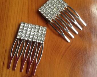 Upcycled vintage rhinestone hair combs,Wedding Hair Combs,Bride,OOAK,Repurposed