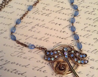 Upcycled Vintage Dragonfly Rosary Assemblage Necklace, OOAK, Repurposed