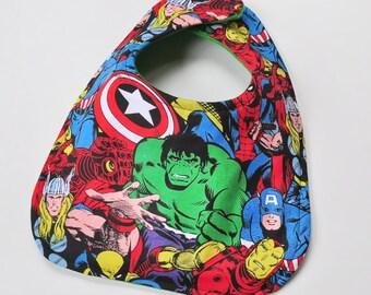 Marvel Baby Bib Super Hero Bibs, Infant Bib, Baby Boy Bib, Baby Gift, Shower Gift, Made From Marvel Fabric