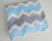 Crochet chevron baby blanket in blue, white and light grey / Choose your Size / Travel, Stroller or Crib size blanket