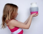 Pink and Gray Vase / pink home decor / handcrafted vase / fuschia flower vase / valentine home decor