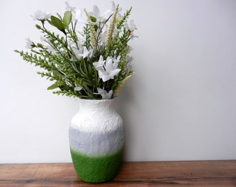 Green and Grey Vase / handcrafted home decor / glass  and concrete handpainted vase / made to order