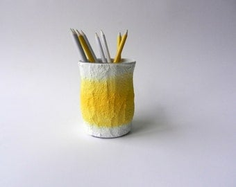 Yellow and White Office Pencil holder / yellow pen cup / sunshine yellow cup