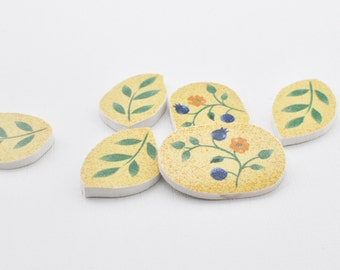 Broken China Mosaic Tile - Blue Yellow Flowers -  Cabochon - Set of 6 Focal