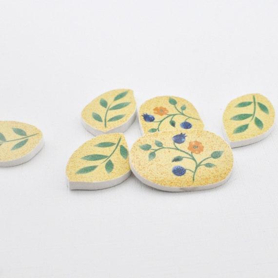 Broken China Mosaic Tile - Blue Yellow Flowers -  Cabochon - Set of 6 Focal