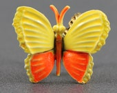 Vintage 1960s Enamel Orange and Yellow Butterfly ART Scarf Slide