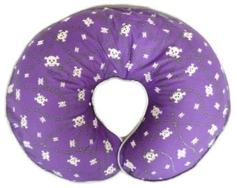 Boy or Girl Boppy Pillow Cover Purple Skull and Crossbones and Barbwire Nursing Pillow Cover