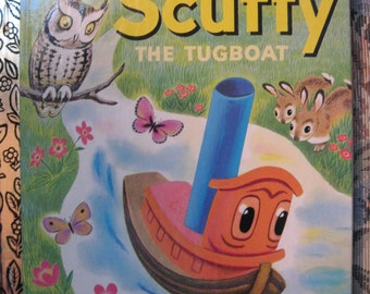 Vintage SCUFFY THE TUGBOAT Little Golden Book Excellent Condition Gertrude Crampton 1983