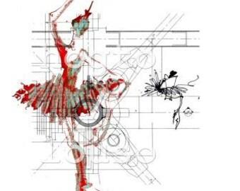 Nutcracker Ballet, Urban Industrial Art, Architectural Drawing, red black white, ballet art print, Christmas gift, dance gifts, modern art
