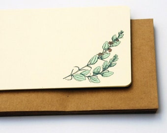 The Leafy Branch Notecard Set in green and cream -Set of 6 flat Notecards and Kraft Envelopes