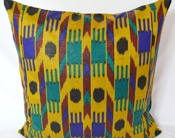 SALE for yellow, blue, turquoise, ikat pillow cover 20x20, sofa pillow, pillowcase dress - SilkWay
