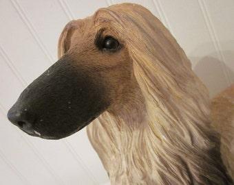 vintage dog statue, Afghan Hound by Sandicast, Black Masked Red / Blonde, chippy charmer