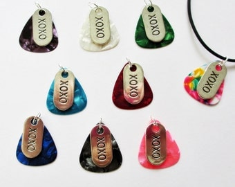 Guitar Pick Necklace Hugs and Kisses XOXO your Choice of Color
