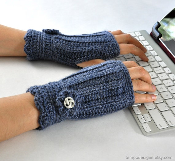 Fingerless Glove Wrist Warmer Gauntlet Blue Denim