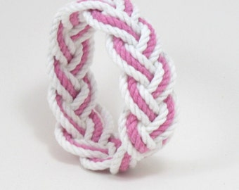 Sailor Knot Bangle Bracelet White and Pink Cotton