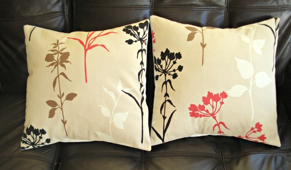 Decorative pillow cow parsley red black brown beige white flowers design cushion shams UK designer fabric covers Two 16 x 16 inch handmade