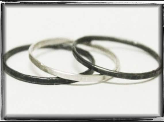 Skinny Stacker Rings Solid Cast Sterling Silver Rings rustic handmade stacking unisex wedding band. Made to order in your size Handmade