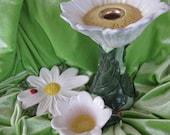 DAISY DECOR CERAMIC Set  3 Piece Candle Holder  Tea Cup   Saucer