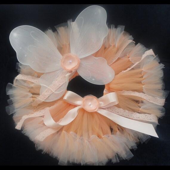 Baby Girls Birthday Tutu Dress Outfit, Peach Sugar Fairy Tutu Costume