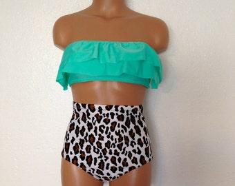 Seashore ruffle top with retro leopard bottoms.