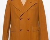 Made in Spain Vintage Mens Wool Coat 1960's  Fox Hunt 38-40 Medium Classic Pea Coat Rust
