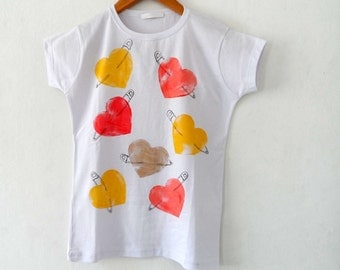 Women Tshirt, Hearts with Safety Pins , tshirt tee top, handpainted  /  M - L