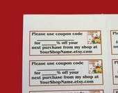 30 PERSONALIZED Coupon Code Labels. 1 Sheet of White 1-Inch Labels. 5081