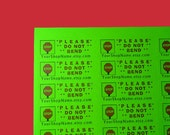 60 PERSONALIZED Do Not Bend Labels. 2 Sheets Neon Green 1-inch Labels. COLOR. 5252