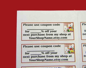 30 PERSONALIZED Coupon Code Labels. 1 Sheet of White 1-Inch Labels. 5159