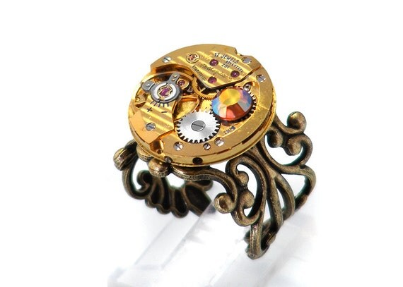 RESERVED for S&S Steampunk Ring, Bold Gold Tissot Vintage Watch Movement - Adjustable Ring