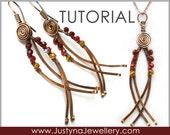 Long Earrings Tutorial, Dangle Earrings PDF Tutorial, Hammered Jewelry Tutorial, Pendant Tutorial, Beaded Earrings Step by Step Pattern