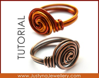 Spiral Ring Tutorial, Rosette Ring Tutorial, Knot Ring Tutorial, Rose Ring Tutorial, Wire Wrapping Jewelry Tutorial, Wire Twist Ring Pattern