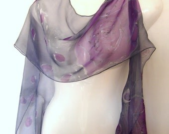 "Silk Scarf, Hand Painted Silk Scarf, Purple Roses On Gray, Floral Scarf, Extra Long Skinny Silk Chiffon Scarf, 96"" x 12"""