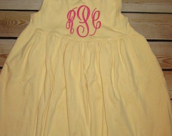 Personalized Monogram YELLOW Dress or Bathing suit Coverup