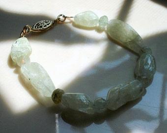 Aquamarine Bracelet, Green Aquamarine Nuggets, Chunky Aquamarine Gemstone Bracelet ON SALE was 39.00