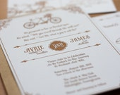 Bicycle Built for Two - Vintage Inspired Wedding Invitation Suite  - Invitation and RSVP Card