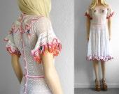White Crochet Dress Lace Crochet Dress Women Crochet Dress xs Lace Dress Summer Dress Vintage Dress Mexican Embroidered Dress Boho Dress