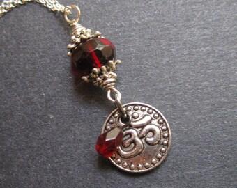 Silver Om Necklace Yoga Red Buddhist Hindu by MinouBazaar