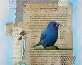 Blue Bird Collage Original