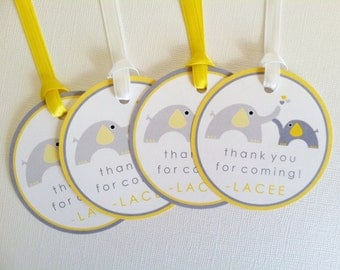 yellow grey elephant favor tags baby shower decorations set of