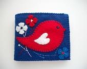 Needle Book Blue Felt Needle Case with Folk Art Bird Handsewn
