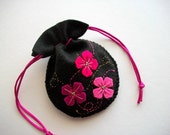 Black Jewelry Pouch Felt Gift Bag with Hand Embroidered Felt Flowers Handsewn