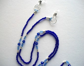 Blue Eyeglass Holder Lapis Lazuli Beaded Lanyard with Blue Crystal Bicone's