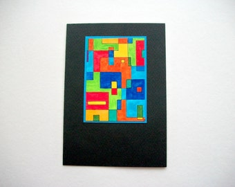 Original Art Card or Wall Hanging Multicolor Abstract Acryl Painting