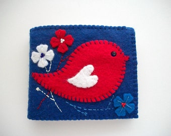 Needle Book Blue Felt Needle Case with Folk Art Bird Handsewn
