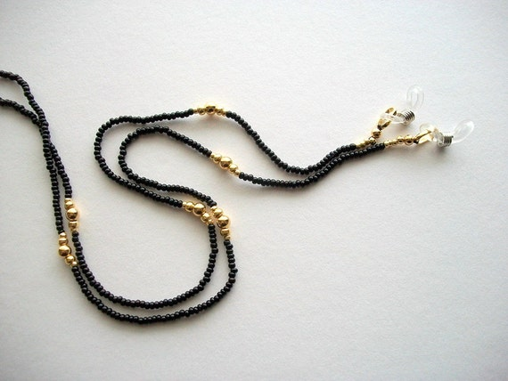black eyeglass lanyard beaded holder with by