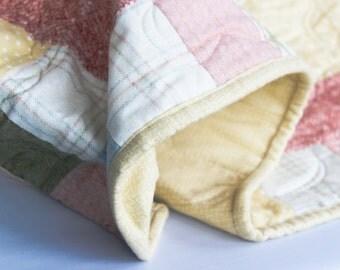 Pastel Baby Quilt -Flannel  -  Bunny In Garden - Super Soft Baby Decor