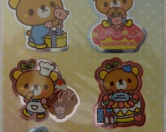 Kawaii Bean Bear Sticker Sheet - A